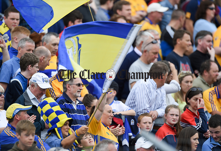 Plenty of Clare colour during their Munster  championship round robin game at Cusack Park Photograph by John Kelly.