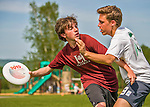 29 May 2015: Vermont Commons School plays Lyndon Institute in the first round of the VYUL State Ultimate Disk Championships at Bombardier Park in Milton, Vermont. Mandatory Credit: Ed Wolfstein Photo *** RAW (NEF) Image File Available ***