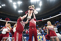 NWA Democrat-Gazette/CHARLIE KAIJO Arkansas Razorbacks cheerleaders cheer during the Southeastern Conference Men's Basketball Tournament quarterfinals, Friday, March 9, 2018 at Scottrade Center in St. Louis, Mo.