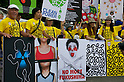 September 19, 2011, Harajuku, Tokyo, Japan - Anti-Nuclear protesters display placards at the 'Sayonara-Nukes' rally held in Meiji Park. Police and local media estimates put numbers attending at between 20-50,000. (Photo by Bruce Meyer-Kenny/AFLO) [3692]..