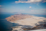 Antelope Island and the causeway from Salt Lake City, Great Salt Lake, Utah from a jet airliner window