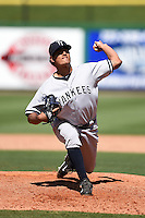 Tampa Yankees pitcher James Pazos (35) during a game against the Clearwater Threshers on April 9, 2014 at Bright House Field in Clearwater, Florida.  Tampa defeated Clearwater 5-3.  (Mike Janes/Four Seam Images)