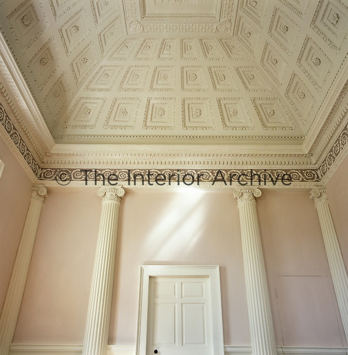 Detail of the coffered ceiling and Ionic columns of the neoclassical drawing room