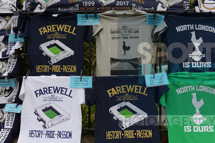Merchandise and other memorabillia outside the stadium. English Premier League match at the White Hart Lane Stadium, London. Picture date: April 30th, 2017.Pic credit should read: Robin Parker/Sportimage