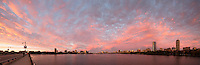 sunset clouds from Mass Ave Bridge, skyline, Boston, MA panorama
