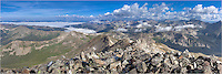This Colorado landscape image shows the view from one of Colorado's iconic 14,000 feet mountains - a panoramic vista from the summit of Mount Yale. It is a long hike up this majestice mountain. The nearest town is Buena Vista, but the trailhead is still a long way from here.<br />