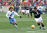 Heath Pearce (6), of the United States, tries to get past Guatemala's Mario Rodríguez on Sunday, February 19th, 2005 at Pizza Hut Park in Frisco, Texas. The United States Men's National Team defeated Guatemala 4-0 in a men's international friendly.