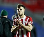 George Baldock of Sheffield Utd applauds the fans during the FA Cup match at the Madejski Stadium, Reading. Picture date: 3rd March 2020. Picture credit should read: Simon Bellis/Sportimage
