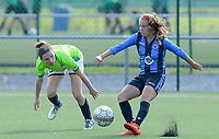 20180915 - Brugge , BELGIUM : Jana Van Der Biest (left) pictured watching Brugge's Talitha De Groote (r) during the third game in the first division season 2018-2019 between the women teams of Club Brugge Dames and Eendracht Aalst , Saturday 15 September 2018 . PHOTO DAVID CATRY | SPORTPIX.BE