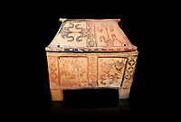 Minoan  pottery gabled larnax coffin chest with bird and papyrus decorations,   1300-1200 BC, Heraklion Archaeological  Museum, black background.