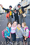 Laura Moynihan, Brid O'Sullivan, Alan Counihan and Lama Kelly..Back Tiny, Guedo Fanzini and Shorty, pictured at world record attempt for the largest-ever Irish dancing session, in Denny street, Tralee on Friday evening.