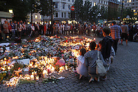 (Oslo July 23, 2011) People gather outside Oslo Cathedral the day after a shooting spree by a lone gunman who killed over 80 youths at a political camp.  <br /> <br /> A large vehicle bomb was detonated near the offices of Norwegian Prime Minister Jens Stoltenberg on 22 July 2011. Although Stoltenberg was reportedly unharmed the blast resulted in several injuries and deaths. <br /> Another terrorist attack took place shortly afterwards, where a man killed over 80 children and youths attending a political camp at Ut&oslash;ya island. <br /> <br /> Anders Behring Breivik was arrested on the island and has admitted to carrying out both attacks.<br /> <br /> (photo:Fredrik Naumann/Felix Features)
