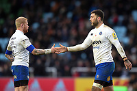 Tom Homer and Matt Banahan of Bath Rugby. Aviva Premiership match, between Harlequins and Bath Rugby on March 2, 2018 at the Twickenham Stoop in London, England. Photo by: Patrick Khachfe / Onside Images