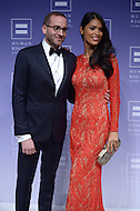 Washington, DC - October 25, 2014: HRC President Chad Griffin poses with international model Geena Rocero at the Human Rights Campaign's National Dinner, October 25, 2014, at the Walter E. Washington Convention Center in the District of Columbia.   (Photo by Don Baxter/Media Images International)