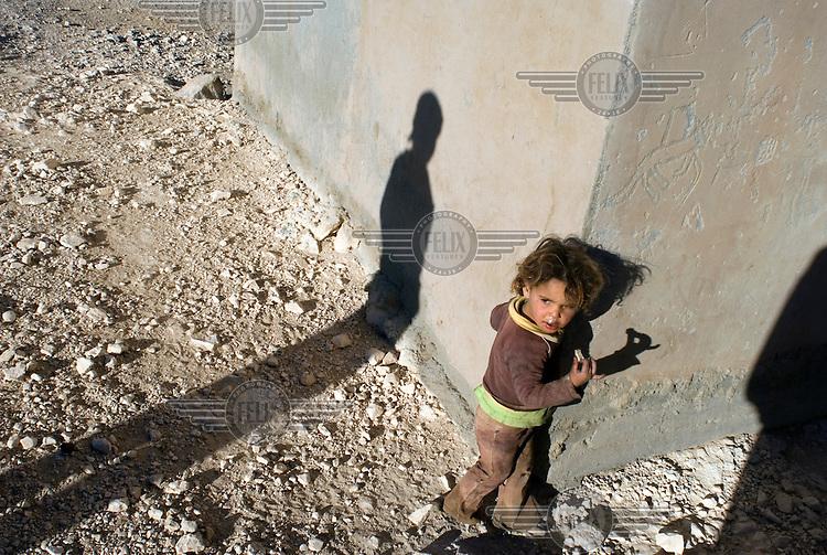 A Bedouin child at the Al Rashayda Bedouin village.