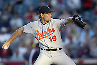 Scott Erickson of the Baltimore Orioles pitches during a 2002 MLB season game against the Los Angeles Angels at Angel Stadium, in Los Angeles, California. (Larry Goren/Four Seam Images)