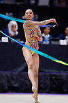 Uzume Kawasaki (JPN), <br /> AUGUST 27, 2018 - Gymnastics - Rhythmic : <br /> Individual All-Around Qualification Ribbon <br /> at JIEX Kemayoran Hall D <br /> during the 2018 Jakarta Palembang Asian Games <br /> in Jakarta, Indonesia. <br /> (Photo by Naoki Morita/AFLO SPORT)