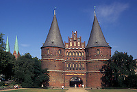 Holsten Gate, Germany, Lubeck, Schleswig-Holstein, Europe, Holstentor a fortified gate with twin towers.