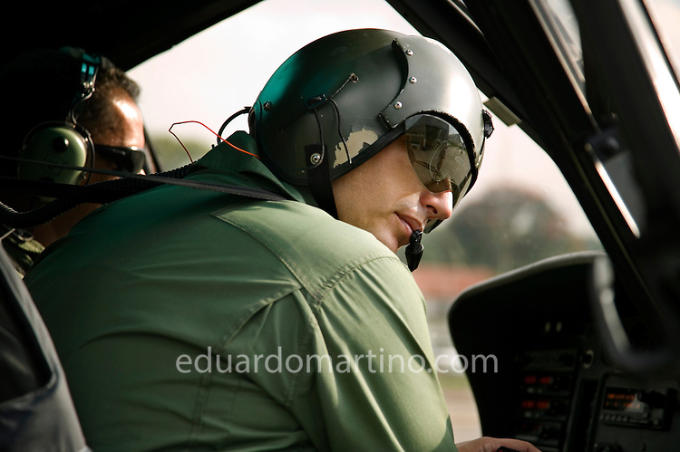 Major Gambaroni arrives at the Military Police's hangar located inside Campo de Marte airport in central Sao Paulo, on board of one of its 13 Aguia helicopters.