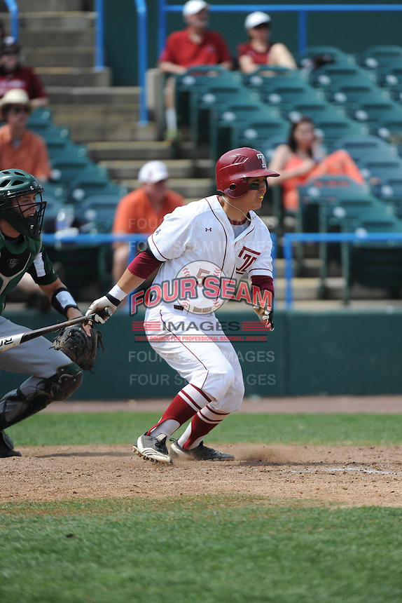 Temple University Owls infielder Reyn Sugai (5) during a game against the University of South Florida Bulls at Campbell's Field on April 13, 2014 in Camden, New Jersey. USF defeated Temple 6-3.  (Tomasso DeRosa/ Four Seam Images)