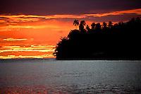 Sunset across the lagoon at Teahupoo, Tahiti, Saturday May 2 2009. Photo: joliphotos.com