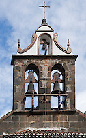 Spain, Canary Islands, La Palma, La Palma, oberhalb Santa Cruz: Santuario Nuestra Senora de las Nieves, monastery and pilgrimage chapel, tower and church bells