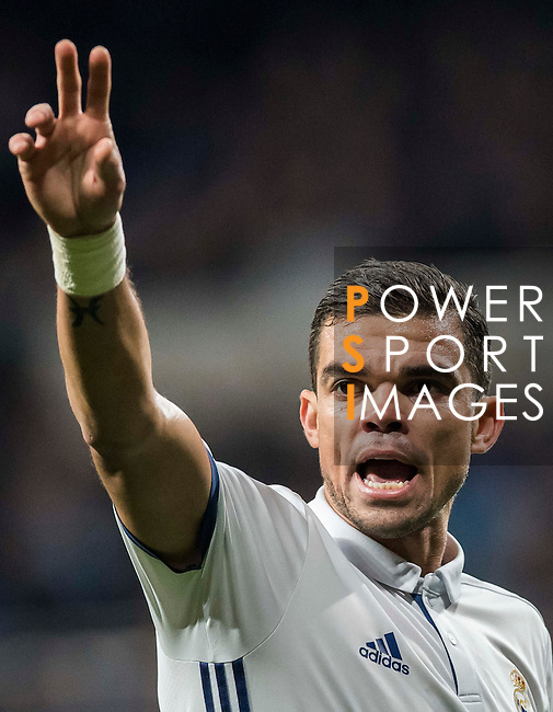 """Képler Laveran Lima Ferreira """"Pepe"""" of Real Madrid reacts during the La Liga match between Real Madrid and RC Deportivo La Coruna at the Santiago Bernabeu Stadium on 10 December 2016 in Madrid, Spain. Photo by Diego Gonzalez Souto / Power Sport Images"""