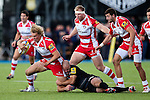 Gloucester's Billy Twelvetrees is tackled by Saracens' Charlie Hodgson - Rugby Union - 2014 / 2015 Aviva Premiership - Saracens vs. Gloucester - Allianz Park Stadium - London - 11/10/2014 - Pic Charlie Forgham-Bailey/Sportimage