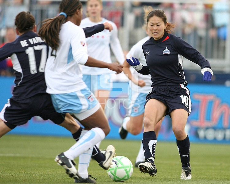 Lisa De Vanna (17) of the Washington Freedom pokes the ball through to Homare Sawa (10) past Ifeoma Dieke (4) of the Chicago Red Stars during a WPS match at Maryland Soccerplex on April 11 2009, in Boyd's, Maryland.  The game ended in a 1-1 tie.
