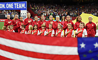 New Orleans, LA - Thursday October 19, 2017: U.S. Women's National team starting eleven during an International friendly match between the Women's National teams of the United States (USA) and South Korea (KOR) at Mercedes Benz Superdome.