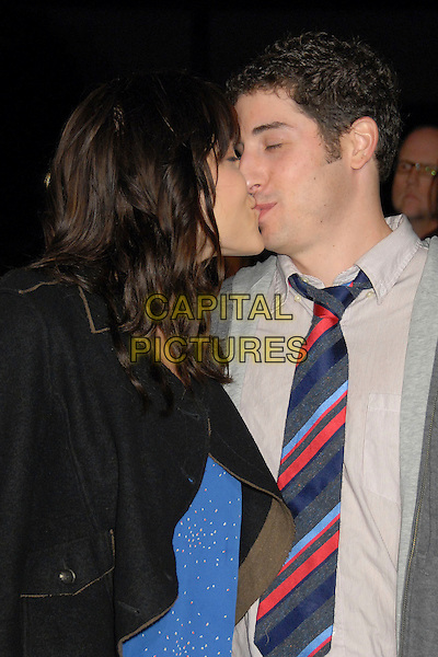 JENNY MOLLEN & JASON BIGGS.34th Annual People's Choice Awards Nominations Announcements Party at Area Nightclub, West Hollywood, California, USA, 8 November 2007..half length red blue striped tie kissing.CAP/ADM/BP.©Byron Purvis/AdMedia/Capital Pictures.