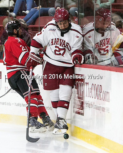 Viktor Dombrovskiy (Harvard - 27) - The Harvard University Crimson defeated the visiting Rensselaer Polytechnic Institute Engineers 5-2 in game 1 of their ECAC quarterfinal series on Friday, March 11, 2016, at Bright-Landry Hockey Center in Boston, Massachusetts.