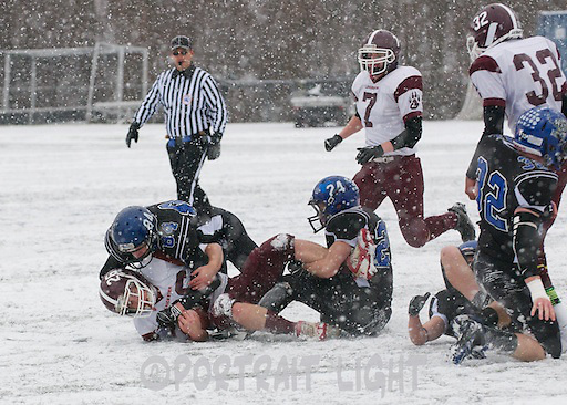 TRHS juniors Bryan Hayes and Ben Tasker make a tackle.
