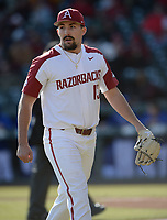 Arkansas starter Connor Noland heads to the dugout Friday, Feb. 14, 2020, after recording the third out of the top of the fifth inning against Eastern Illinois at Baum-Walker Stadium in Fayetteville. Visit nwaonline.com/200214Daily/ for today's photo gallery.<br /> (NWA Democrat-Gazette/Andy Shupe)