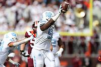 BLACKSBURG, VA - OCTOBER 19: Jason Strowbridge #55 of the University of North Carolina recovers a fumble during a game between North Carolina and Virginia Tech at Lane Stadium on October 19, 2019 in Blacksburg, Virginia.