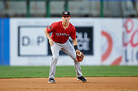 Erie SeaWolves third baseman A.J. Simcox (18) during a game against the Binghamton Rumble Ponies on May 14, 2018 at NYSEG Stadium in Binghamton, New York.  Binghamton defeated Erie 6-5.  (Mike Janes/Four Seam Images)