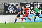 Waldhofs Giuseppe Burgio (Nr.11) gegen Kaiserslauterns Michael Schindele im Spiel SV Waldhof Mannheim - 1. FC Kaiserslautern II.<br /> <br /> Foto &copy; P-I-X.org *** Foto ist honorarpflichtig! *** Auf Anfrage in hoeherer Qualitaet/Aufloesung. Belegexemplar erbeten. Veroeffentlichung ausschliesslich fuer journalistisch-publizistische Zwecke. For editorial use only.