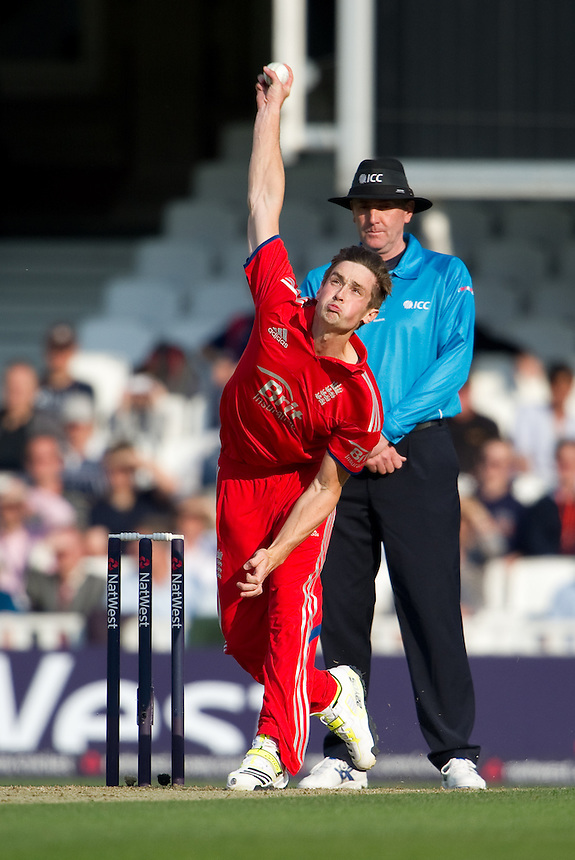 England's Chris Woakes in action during today's game against New Zealand<br /> <br />  (Photo by Ashley Western/CameraSport) <br /> <br /> International Cricket - NatWest International T20 Series - England v New  Zealand - Tuesday 25th June 2013 - The Kia Oval, London <br /> <br />  &copy; CameraSport - 43 Linden Ave. Countesthorpe. Leicester. England. LE8 5PG - Tel: +44 (0) 116 277 4147 - admin@camerasport.com - www.camerasport.com