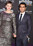 HOLLYWOOD, CA - JANUARY 29: Writer Emily V. Gordon (L) and actor Kumail Nanjiani attend the premiere of Disney and Marvel's 'Black Panther' at  the Dolby Theater on January 28, 2018 in Hollywood, California.