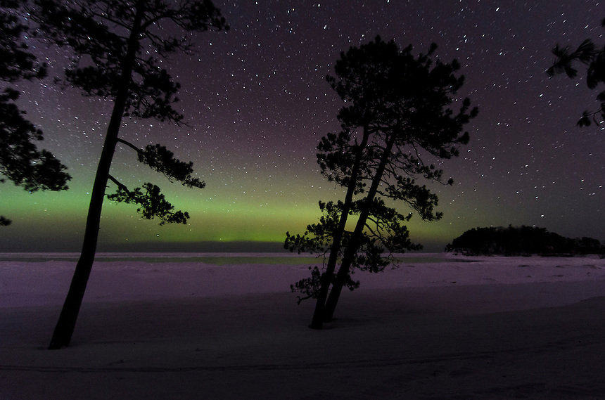 A view of the Aurora band through the trees and over Lake Superior on a sub-zero night. Marquette, MI - Little Presque Isle