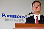 February 3, 2012, Tokyo, Japan - Fumio Otsubo, President of Panasonic Corporation speaks during a press conference at its head office in downtown Tokyo.  Panasonic expects its worst-ever net loss of 780 billion yen (approximately $10.2 billion US dollars) compared to the previous forecast of a loss of 420.0 billion yen, due to the 2011 flooding in Thailand and acquisition prices. (Photo by Christopher Jue/AFLO)