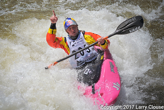 June 9, 2017 - Vail, Colorado, U.S. - Current Freestyle World Champion, Dane Jackson, acknowledges the crowd following his semi-final round in the Freestyle Kayak competition during the GoPro Mountain Games, Vail, Colorado.  Adventure athletes from around the world meet in Vail, Colorado, June 8-11, for America's largest celebration of mountain sports, music, and lifestyle.