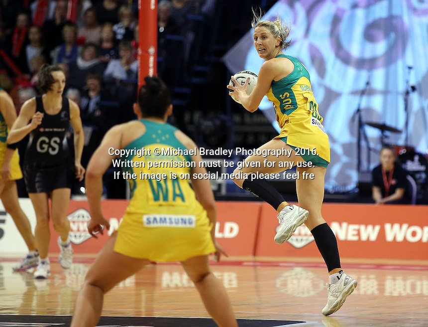 20.10.2016 Australia's Clare McMeniman in action during the Silver Ferns v Australia netball test match played at ILT Stadium in Invercargill. Mandatory Photo Credit ©Michael Bradley.
