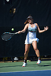 Ulyana Shirokova of the Miami Hurricanes returns a shot during her match at #4 singles  against the Wake Forest Demon Deacons at the Wake Forest Tennis Center on March 31, 2017 in Winston-Salem, North Carolina. The Hurricanes defeated the Demon Deacons 4-3.  (Brian Westerholt/Sports On Film)