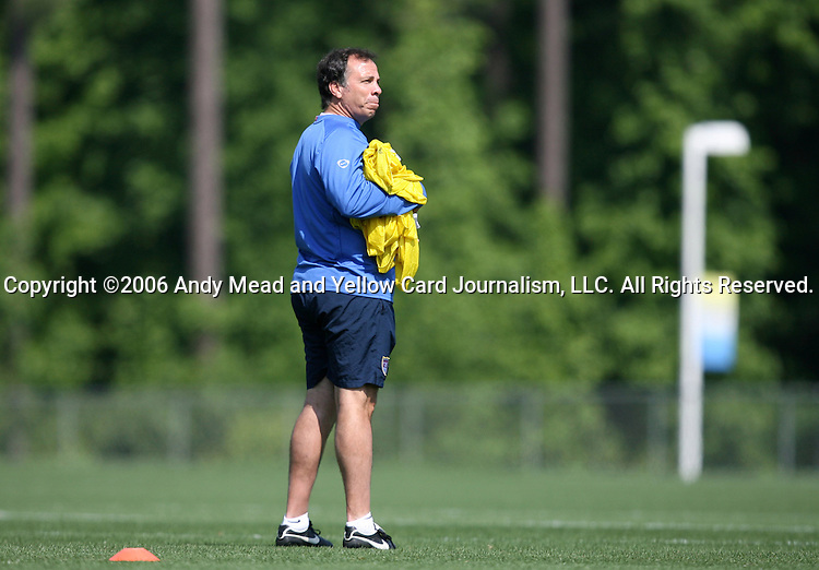Head coach Bruce Arena on Sunday, May 14th, 2006 at SAS Soccer Park in Cary, North Carolina. The United States Men's National Soccer Team held a training session as part of their preparations for the upcoming 2006 FIFA World Cup Finals being held in Germany.