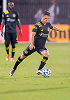 16th July 2020, Orlando, Florida, USA;  Columbus Crew midfielder Sebastian Berhalter (18) takes a shot on goal during the MLS Is Back Tournament between the Columbus Crew SC versus New York Red Bulls on July 16, 2020 at the ESPN Wide World of Sports, Orlando FL.