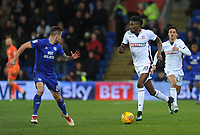 Bolton Wanderers' Sammy Ameobi under pressure from Cardiff City's Joe Ralls<br /> <br /> Photographer Kevin Barnes/CameraSport<br /> <br /> The EFL Sky Bet Championship - Cardiff City v Bolton Wanderers - Tuesday 13th February 2018 - Cardiff City Stadium - Cardiff<br /> <br /> World Copyright &copy; 2018 CameraSport. All rights reserved. 43 Linden Ave. Countesthorpe. Leicester. England. LE8 5PG - Tel: +44 (0) 116 277 4147 - admin@camerasport.com - www.camerasport.com