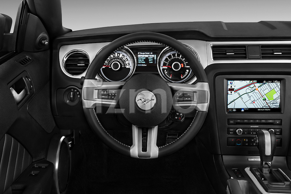 Steering wheel view of a   2013 Ford Mustang GT Premium Convertible
