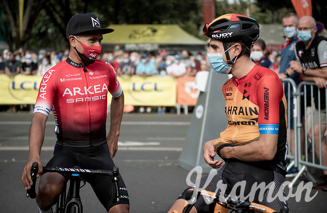 Nairo Quintana (COL/Arkea-Samsic) being friendly with Mikel Landa (ESP/Bahrein-McLaren) at the race start in Clermont-Ferrand<br /> <br /> Stage 1: Clermont-Ferrand to Saint-Christo-en-Jarez (218km)<br /> 72st Critérium du Dauphiné 2020 (2.UWT)<br /> <br /> ©kramon