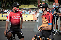 Nairo Quintana (COL/Arkea-Samsic) being friendly with Mikel Landa (ESP/Bahrein-McLaren) at the race start in Clermont-Ferrand<br /> <br /> Stage 1: Clermont-Ferrand to Saint-Christo-en-Jarez (218km)<br /> 72st Critérium du Dauphiné 2020 (2.UWT)<br /> <br /> ©kramon